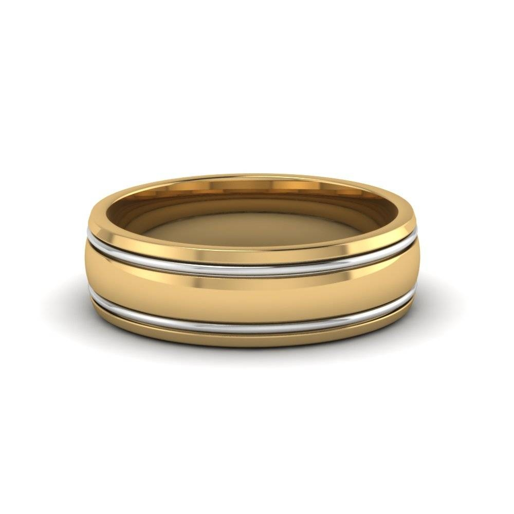 18K Yellow Gold Two Tone Gold Mens Wedding Ring Bands Throughout Yellow Gold Mens Wedding Rings (View 2 of 15)