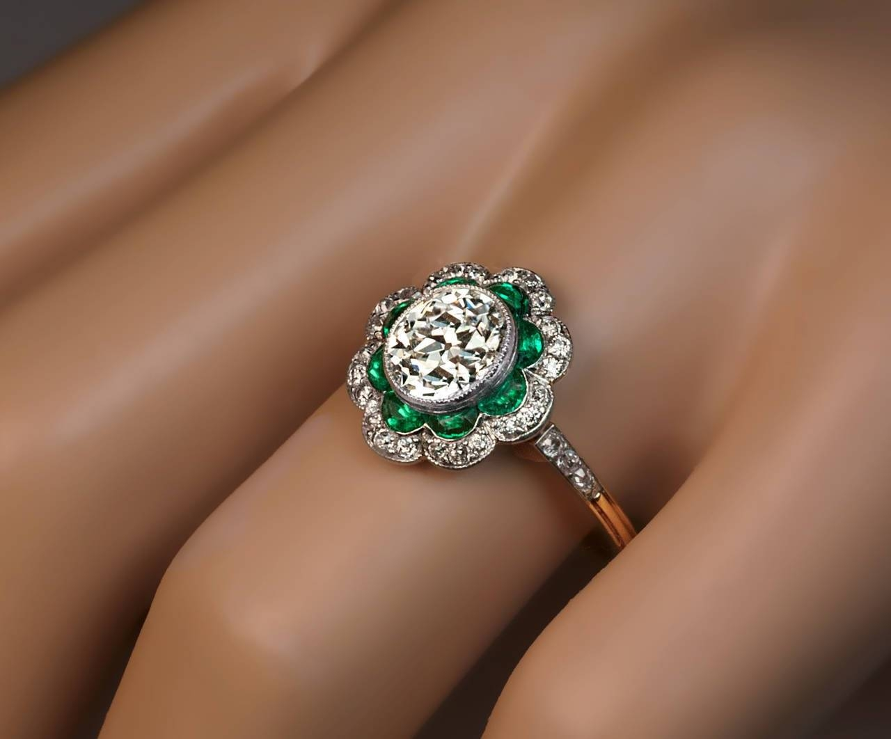 1920S Art Deco Emerald Diamond Platinum Engagement Ring At 1Stdibs Throughout Emerald Engagement Rings (View 2 of 15)