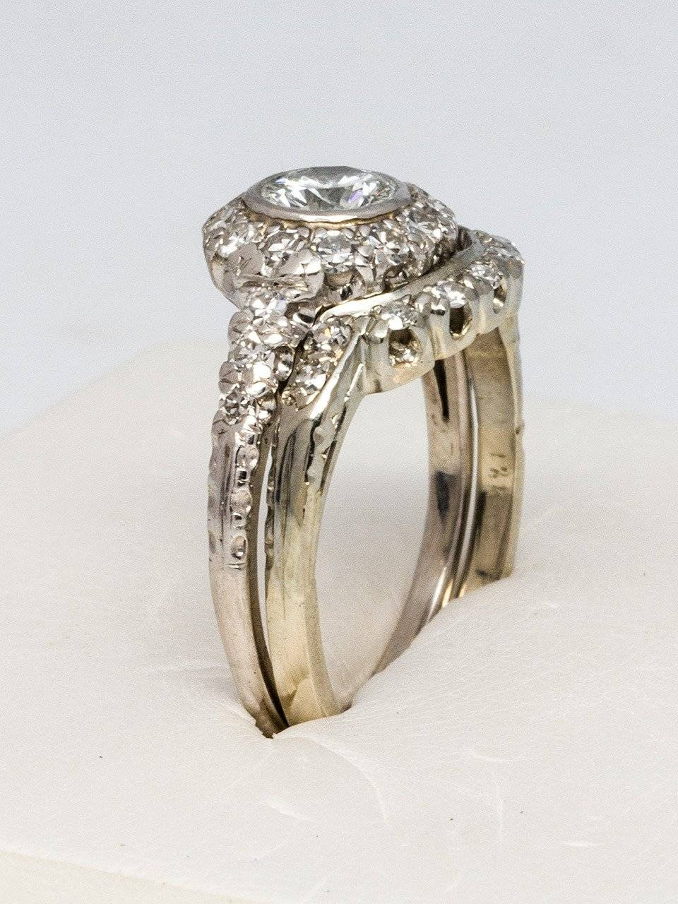 1960S Diamond Platinum Gold Wedding Ring Set For Sale At 1Stdibs Throughout Platinum And Gold Wedding Rings (View 3 of 15)