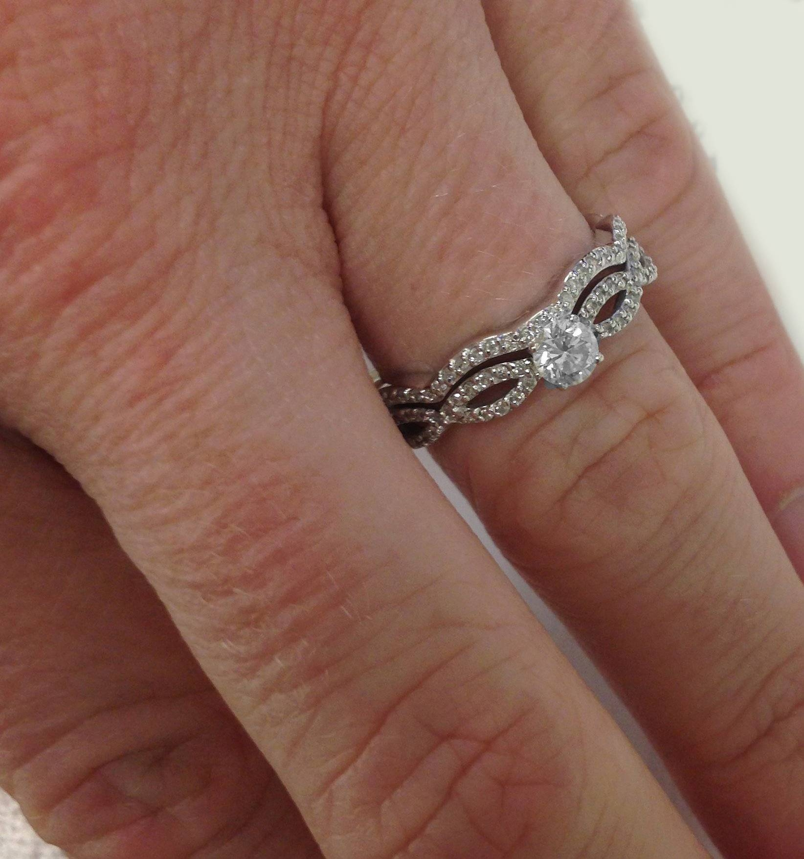 1Ct Pave Natural Diamond Engagement Infinity Wedding Ring Set 14K Throughout Wedding Bands For Twisted Engagement Rings (View 2 of 15)