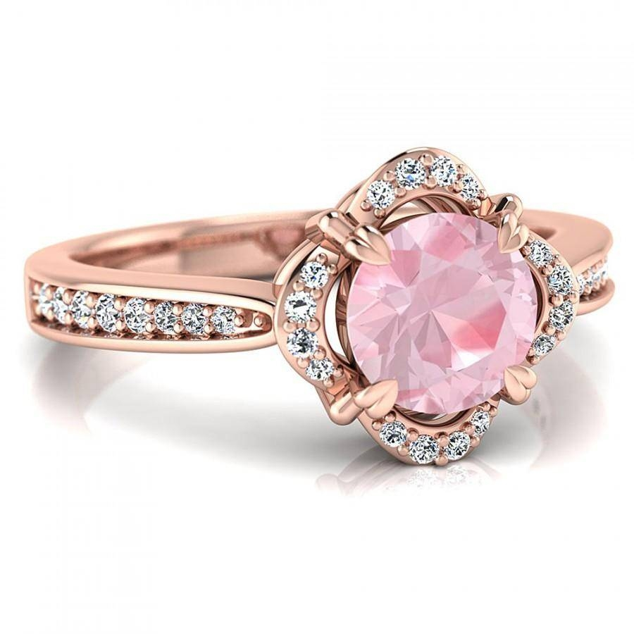 1Ct Round Morganite Floral Vintage Halo Engagement 14K Rose Gold Inside Light Pink Wedding Rings (View 1 of 15)