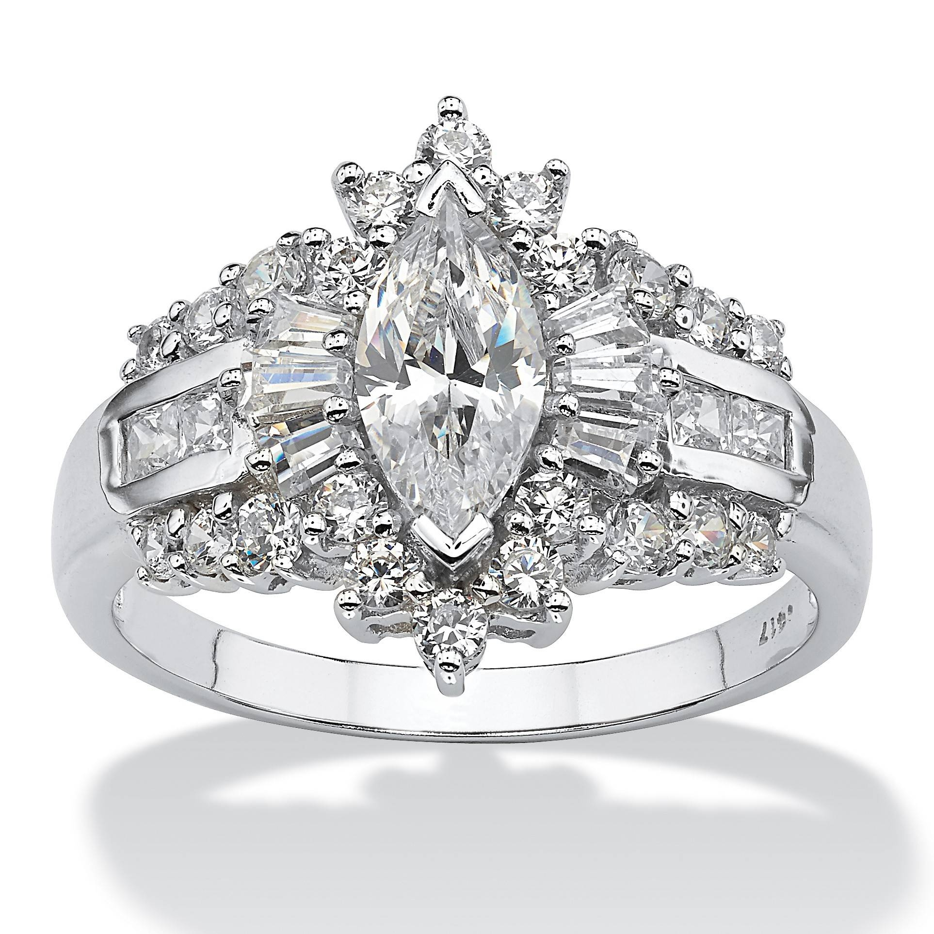 2.19 Tcw Marquise Cut Cubic Zirconia With Round And Baguette With 10K Gold Cubic Zirconia Engagement Rings (Gallery 3 of 15)