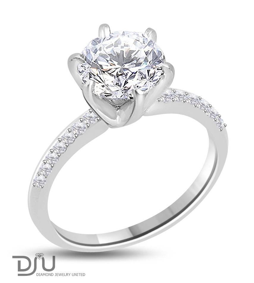2.2 Carat G Vs2 Round Solitaire Diamond Engagement Ring Set In 14 Within 14 Karat Wedding Rings (Gallery 6 of 15)