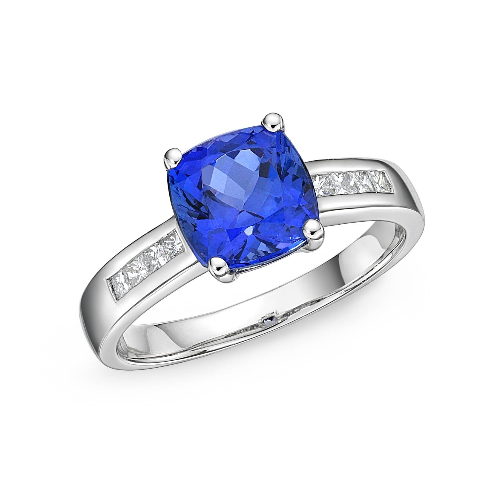 2.34 Cushion Cut Tanzanite & Diamond Solitaire Ring : Richland Regarding Diamond Tanzanite Engagement Rings (Gallery 8 of 15)