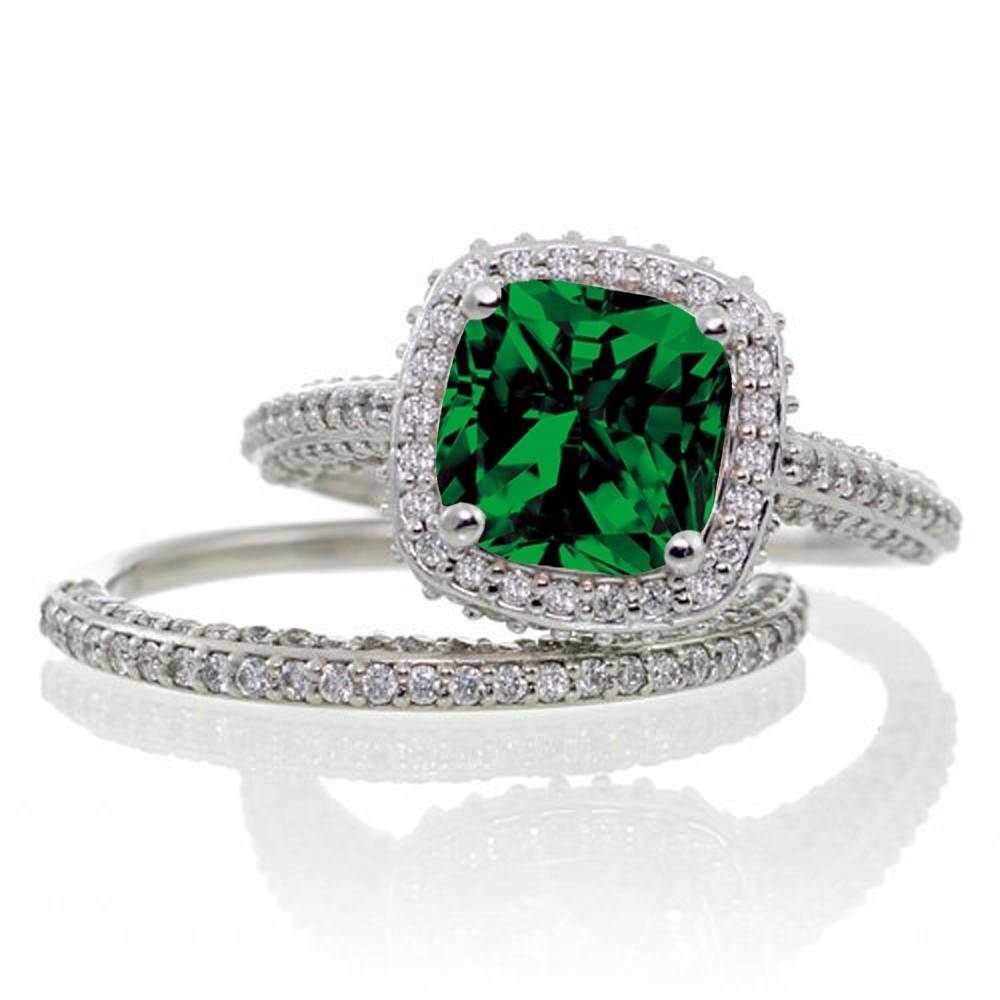 2.5 Carat Cushion Cut Designer Emerald And Diamond Halo Wedding With Regard To Emerald And Diamond Wedding Rings (Gallery 9 of 15)
