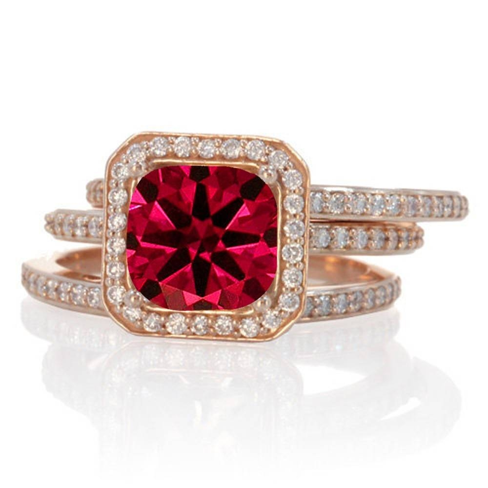 2.50 Carat Perfect Princess Cut Ruby And Diamond Trio Halo Wedding In Princess Cut Ruby Engagement Rings (Gallery 5 of 15)