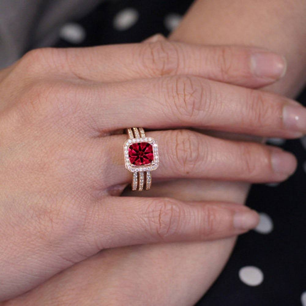 15 Photo of Princess Cut Ruby Engagement Rings