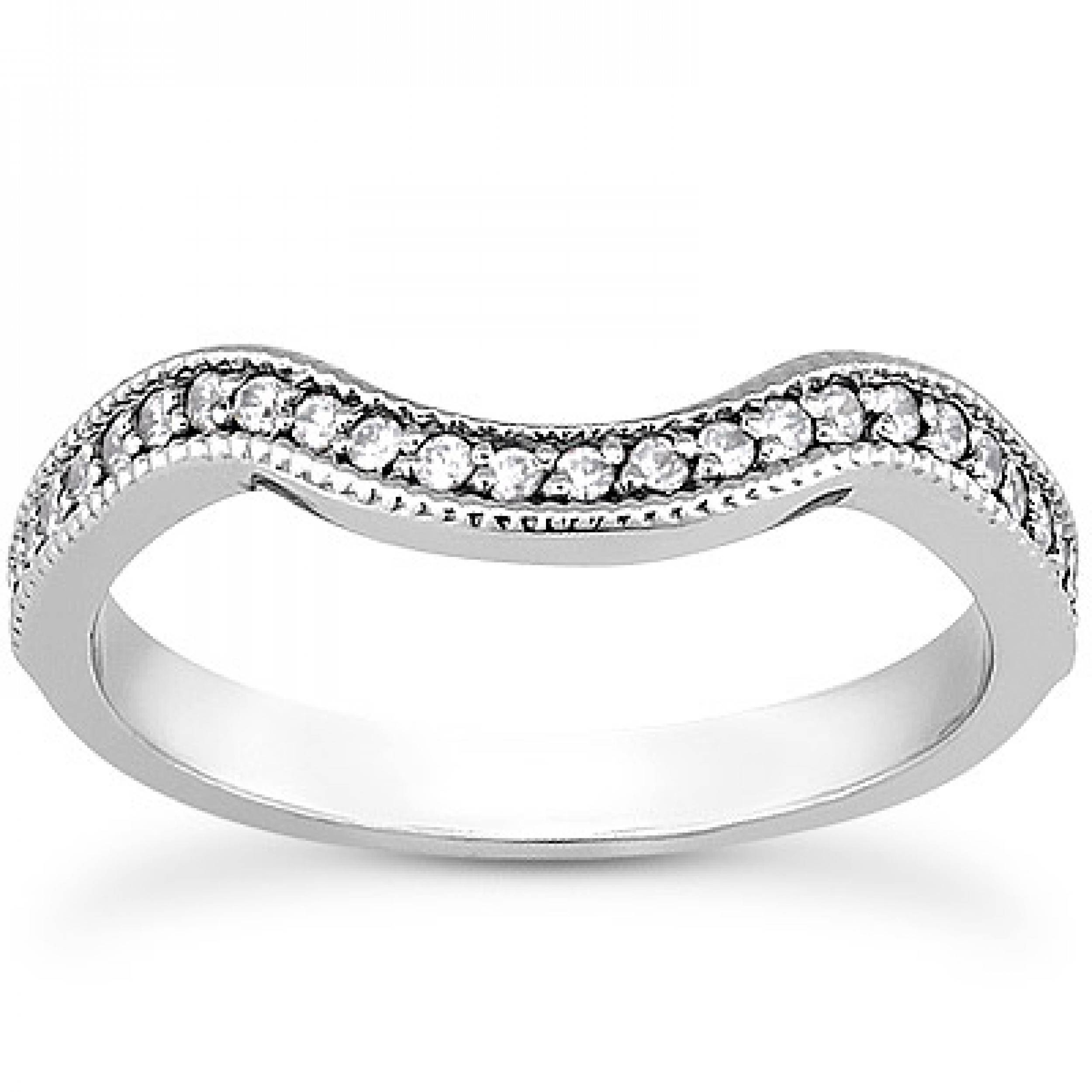 2.5Mm Matching Curved Vintage Diamond Wedding Band In 18K White Gold Within Curved Wedding Bands For Women (Gallery 5 of 15)