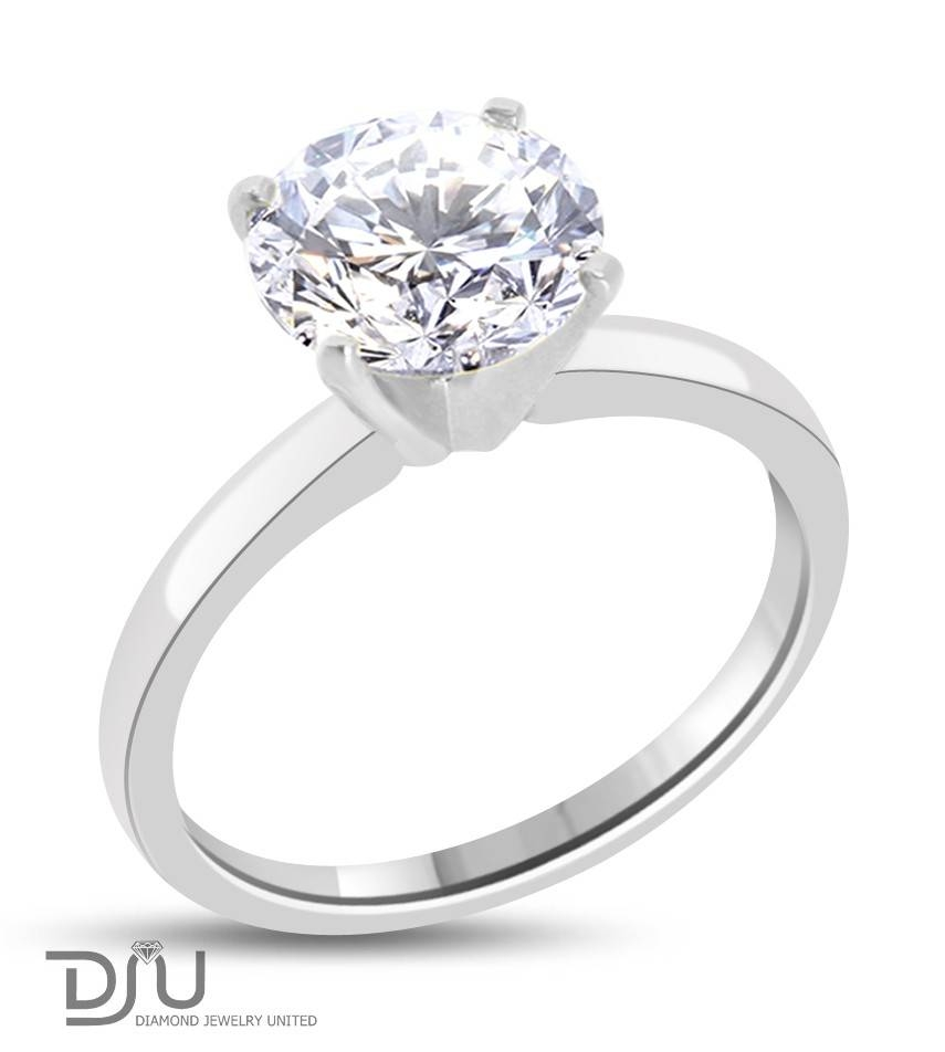 2.6 Carat E Vs2 Round Solitaire Diamond Engagement Ring Set In 14 With Regard To 14 Karat Wedding Rings (Gallery 4 of 15)
