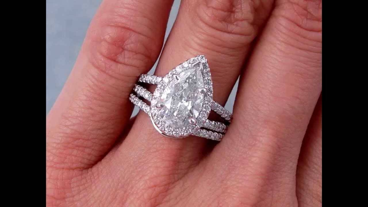 2.95 Ctw Pear Shape Diamond Engagement Ring And Wedding Band Set In Wedding Band For Pear Shaped Engagement Rings (Gallery 4 of 15)