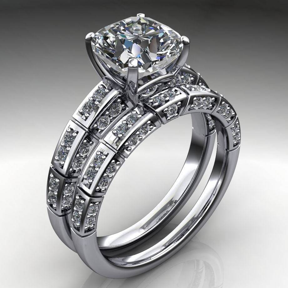 2 Carat Cushion Cut Neo Moissanite Engagement Ring & Wedding Band Set With Regard To Engagement Rings With 2 Wedding Bands (View 1 of 15)