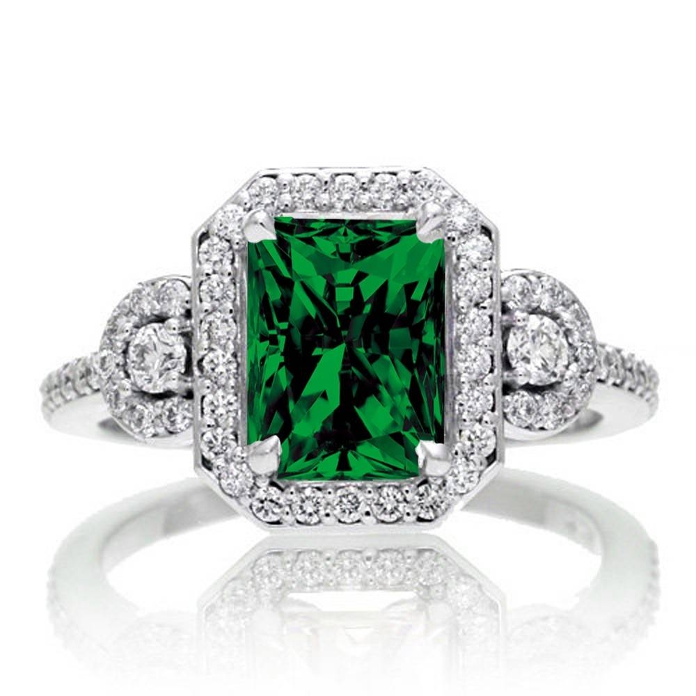 2 Carat Emerald Cut Emerald And White Diamond Halo Engagement Ring Intended For Emerald Engagement Rings White Gold (View 4 of 15)