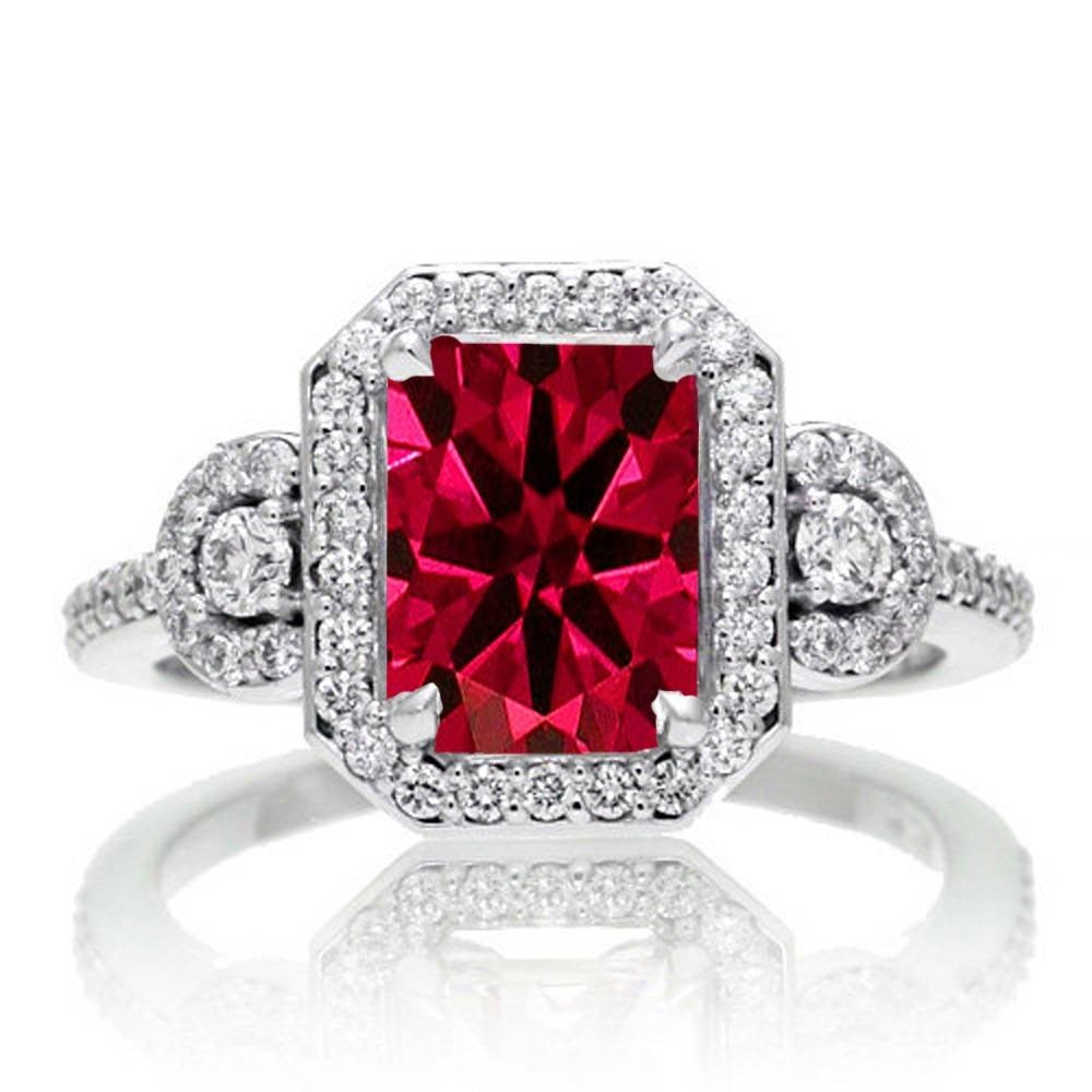 2 Carat Emerald Cut Ruby And White Diamond Halo Engagement Ring On Regarding Engagement Rings Ruby And Diamond (View 2 of 15)