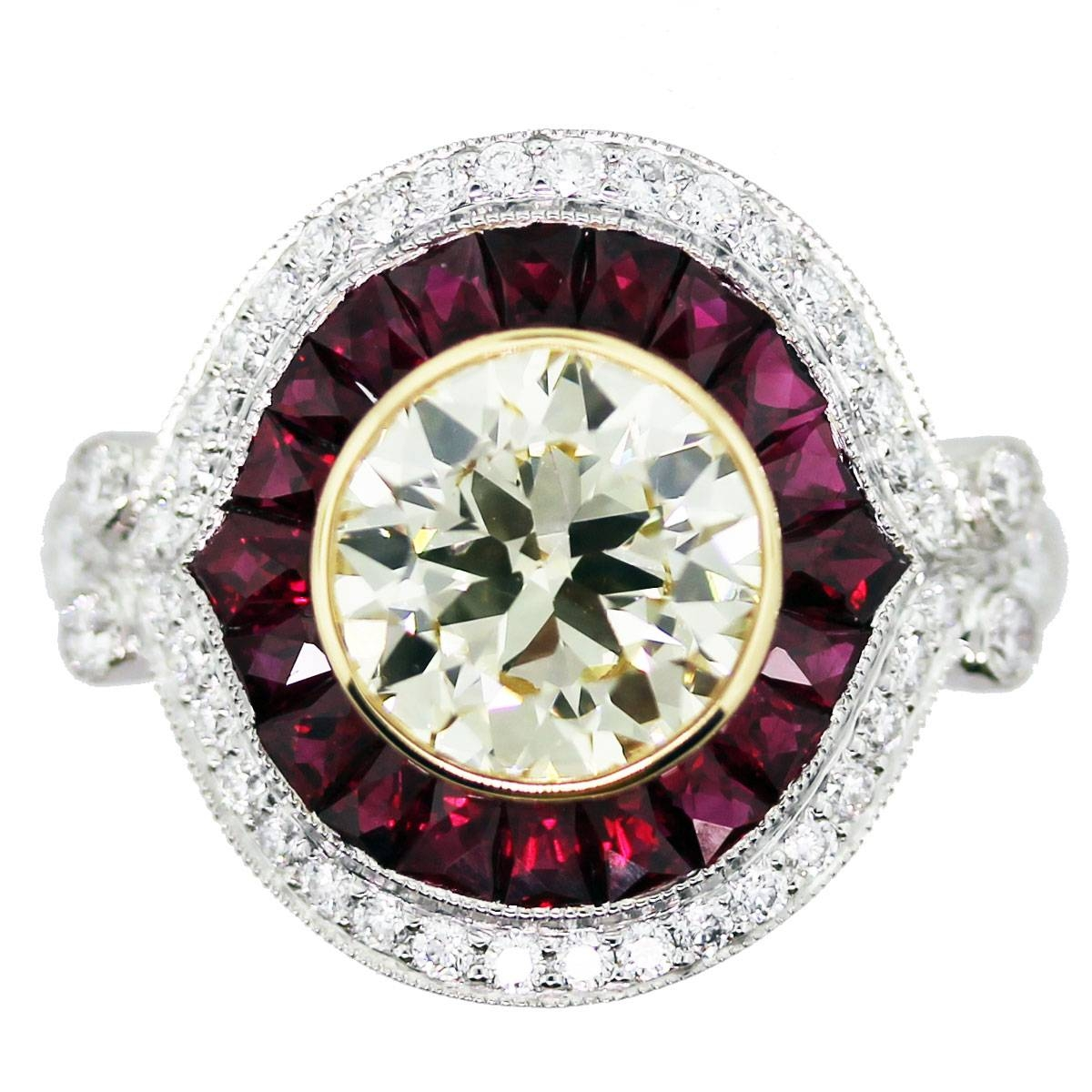 2 Carat Halo Style Engagement Ring Boca Raton Inside Engagement Rings With Ruby And Diamond (View 2 of 15)