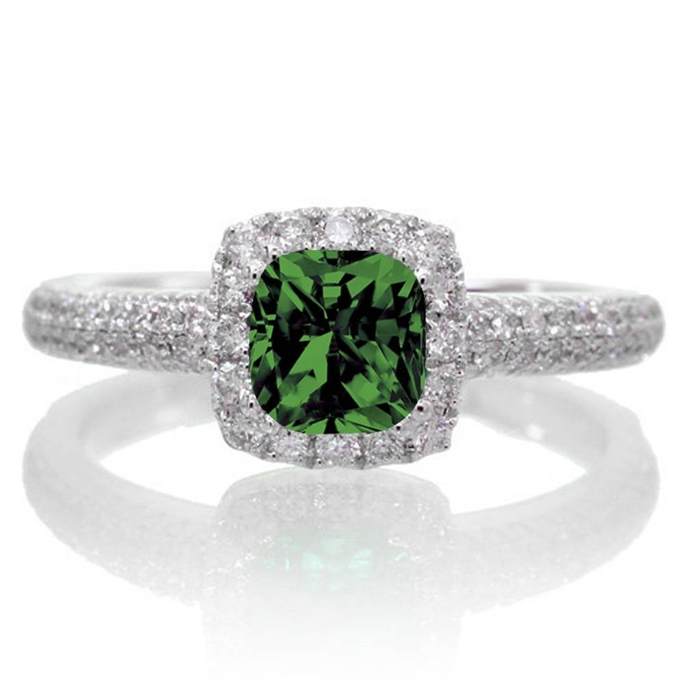 2 Carat Princess Cut Trilogy Emerald And Diamond Vintage Halo Pertaining To White Gold Emerald Engagement Rings (View 7 of 15)
