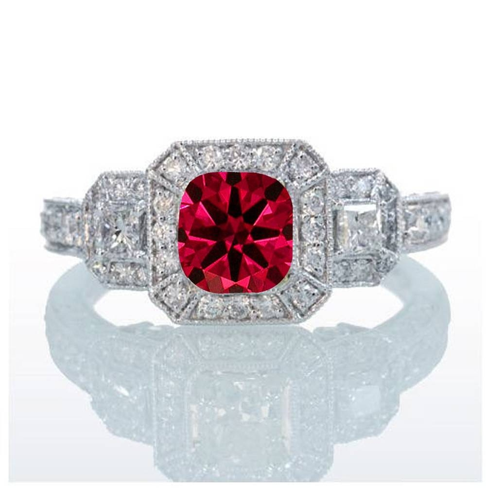 2 Carat Princess Cut Trilogy Ruby And Diamond Vintage Halo Regarding Princess Cut Ruby Engagement Rings (Gallery 6 of 15)