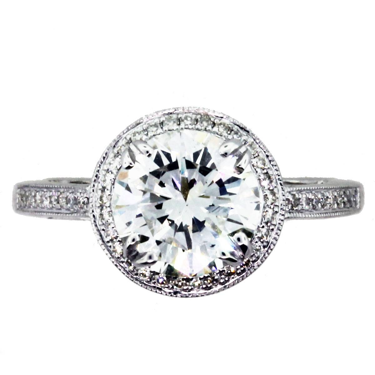 2 Carat Round Diamond Halo Setting Engagement Ring Boca Raton With Regard To Flat Engagement Ring Settings (View 2 of 15)