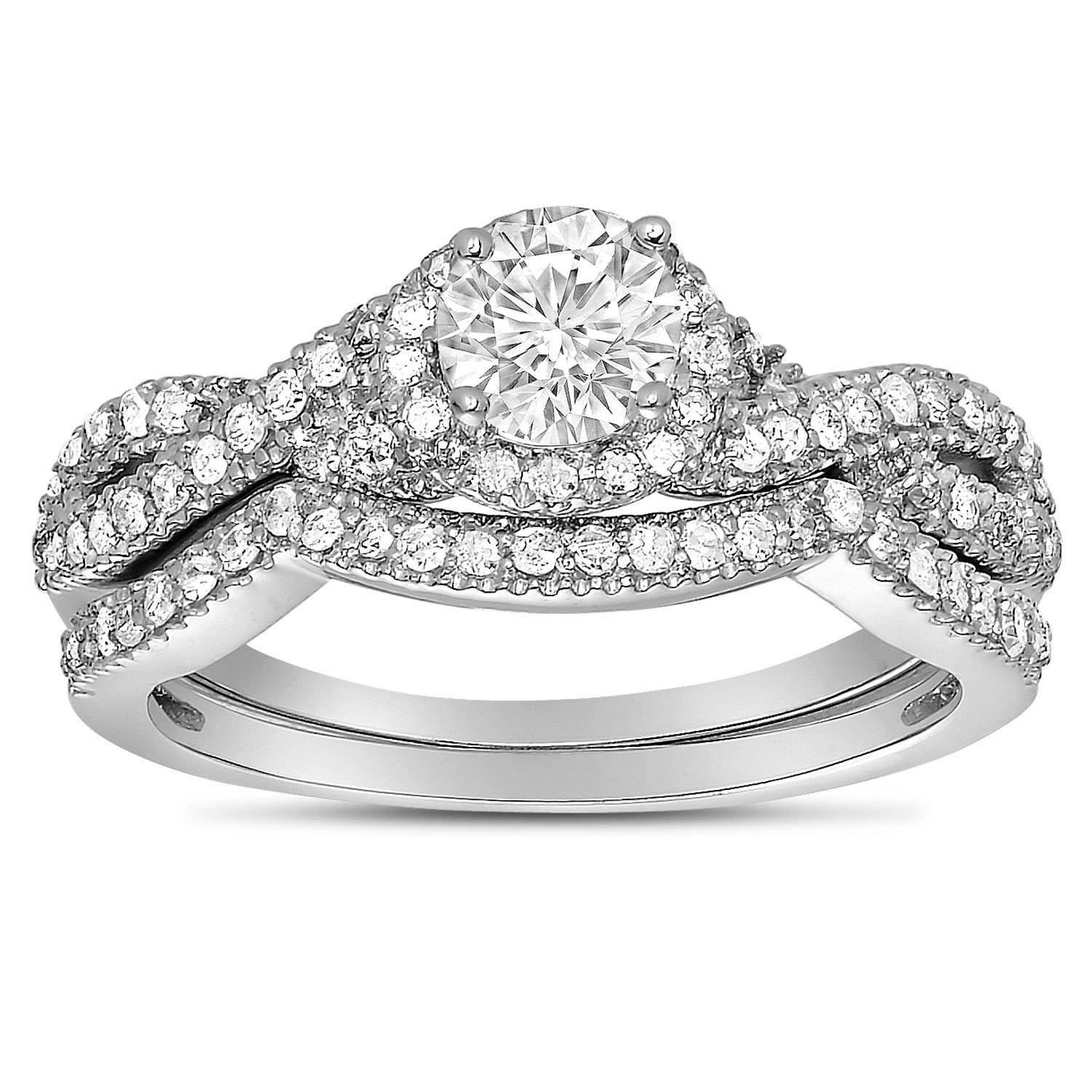 2 Carat Round Diamond Infinity Wedding Ring Set In White Gold For Throughout Infinity Wedding Bands Sets (Gallery 11 of 15)
