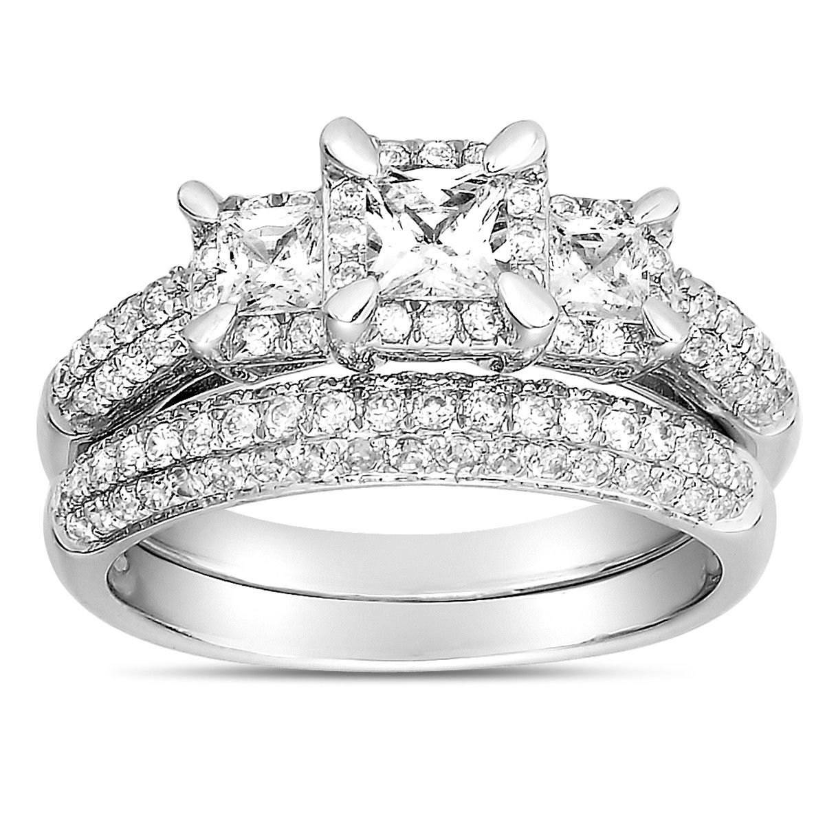 2 Carat Three Stone Trilogy Princess Diamond Wedding Ring Set In In Engagement Ring Sets For Women (View 2 of 15)