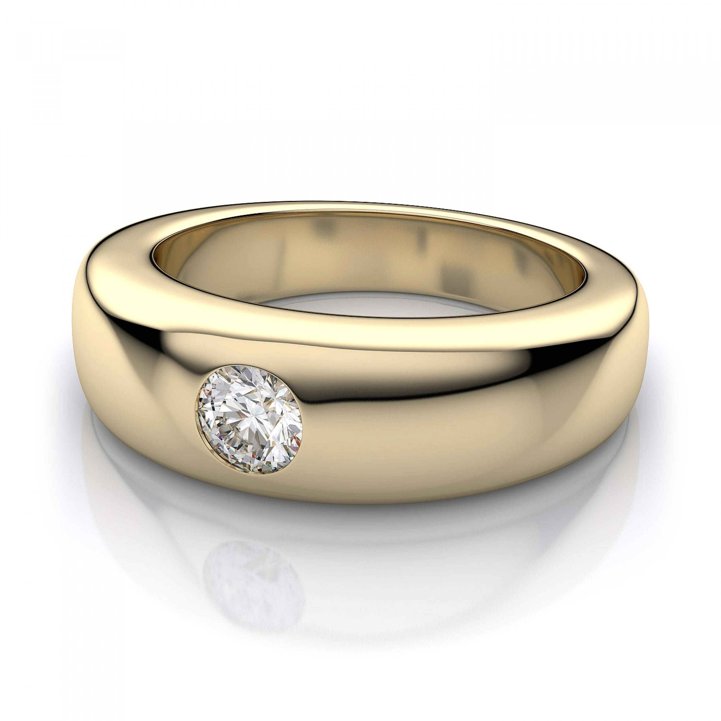 2 Ct Men's Dome Burnished Diamond Band In 18k Yellow Gold With Regard To Men's Yellow Gold Wedding Bands With Diamonds (View 4 of 15)