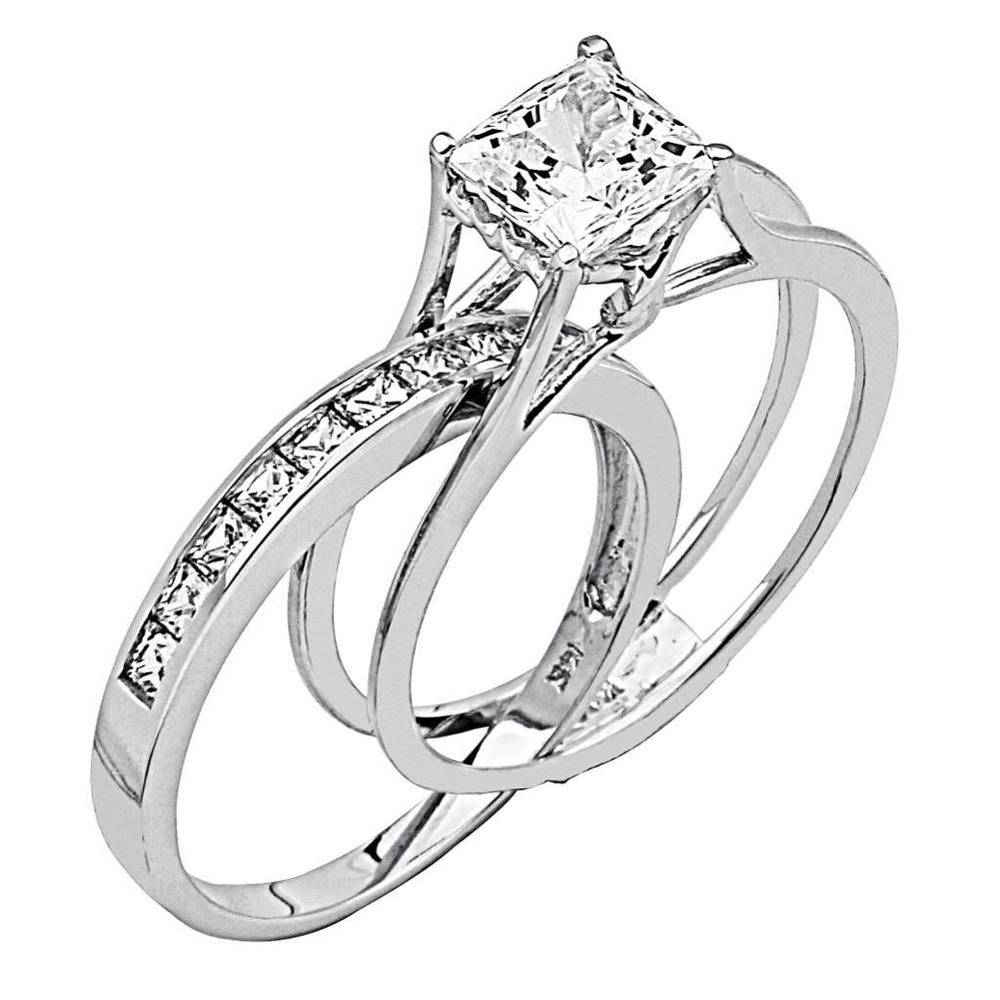 2 Ct Princess Cut 2 Piece Engagement Wedding Ring Band Set Solid Regarding Engagement Wedding Rings (View 1 of 15)