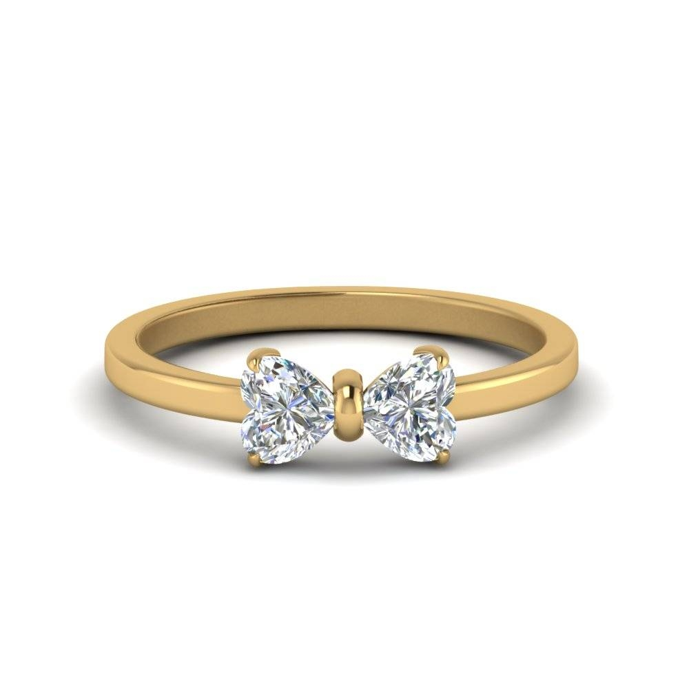 2 Heart Shaped Bow Diamond Ring In 14K Yellow Gold | Fascinating Intended For Engagement Rings With 2 Wedding Bands (View 2 of 15)