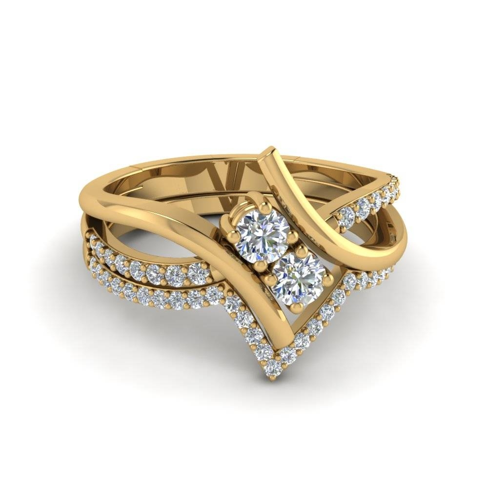 2 Stone Bypass Engagement Ring With Wedding Band In 14K Yellow With Engagement Rings With 2 Wedding Bands (View 3 of 15)