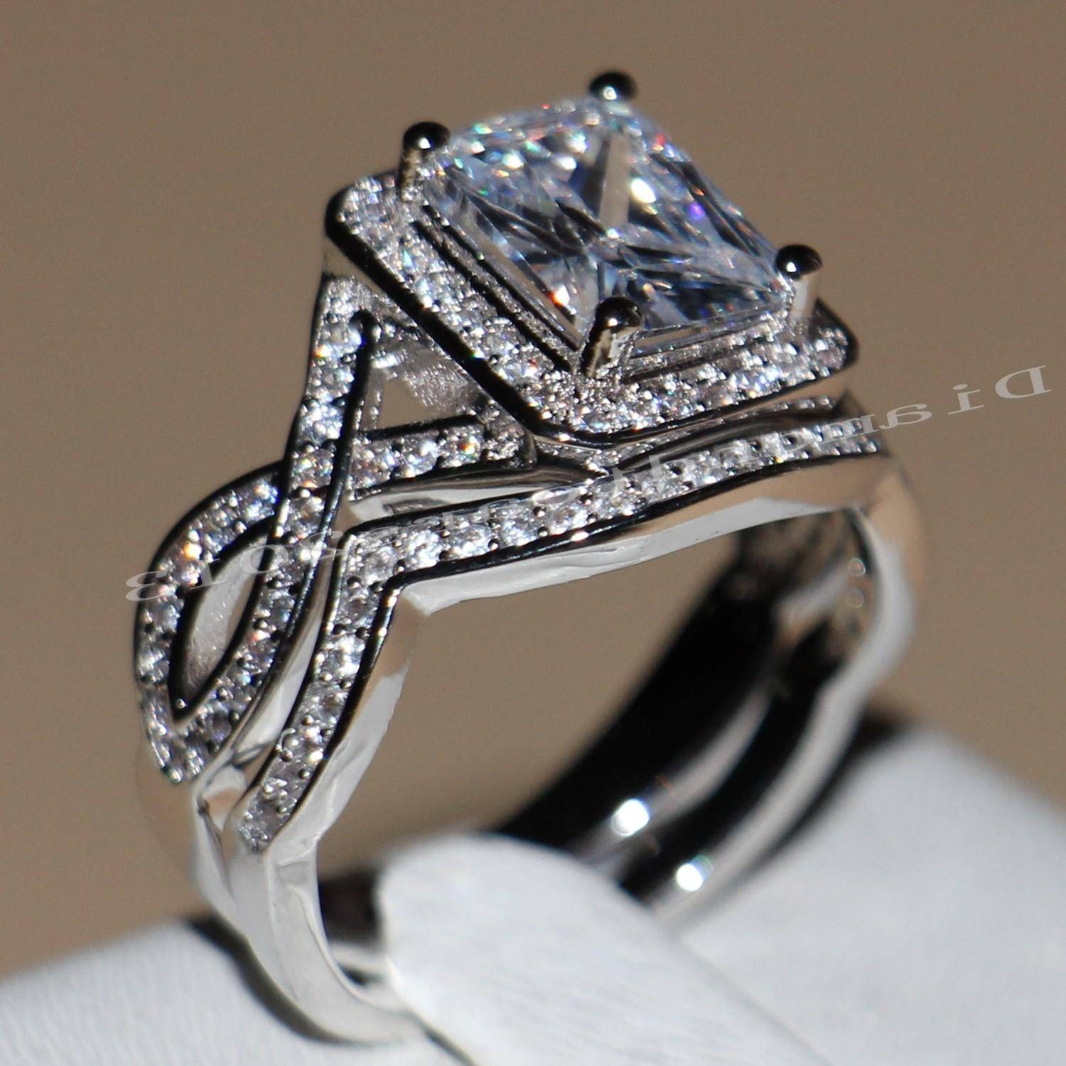 2017 4ct Princess Cut Luxury Jewelry Hot Sale 10kt White Gold Inside Diamonique Wedding Bands (View 8 of 15)