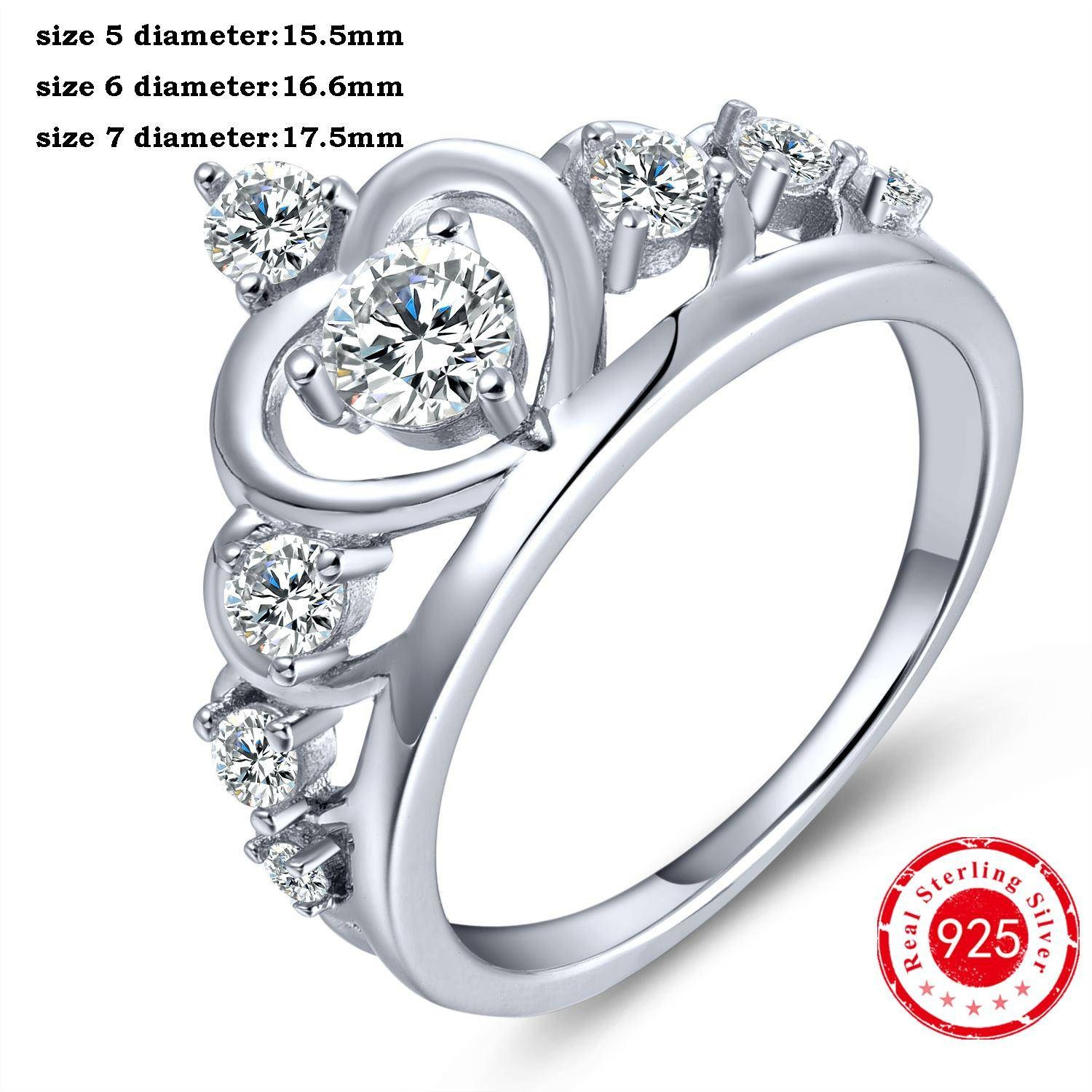 2017 Charms Crown Rings Solid 925 Sterling Silver Round Clear Intended For King And Queen Engagement Rings (Gallery 13 of 15)
