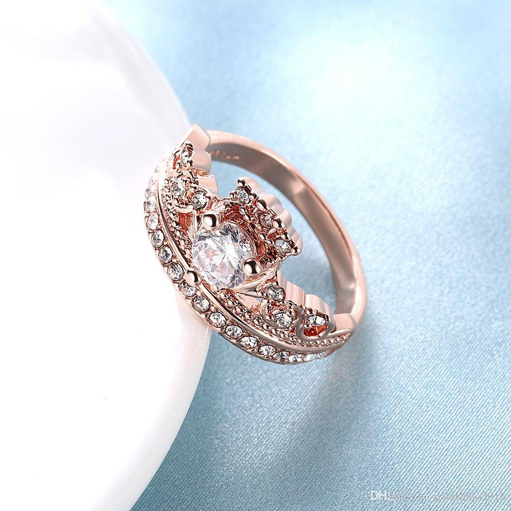 2017 Female Crown Ring Rose Gold Wedding Rings With Gift Box Intended For Crown Style Engagement Rings (Gallery 2 of 15)