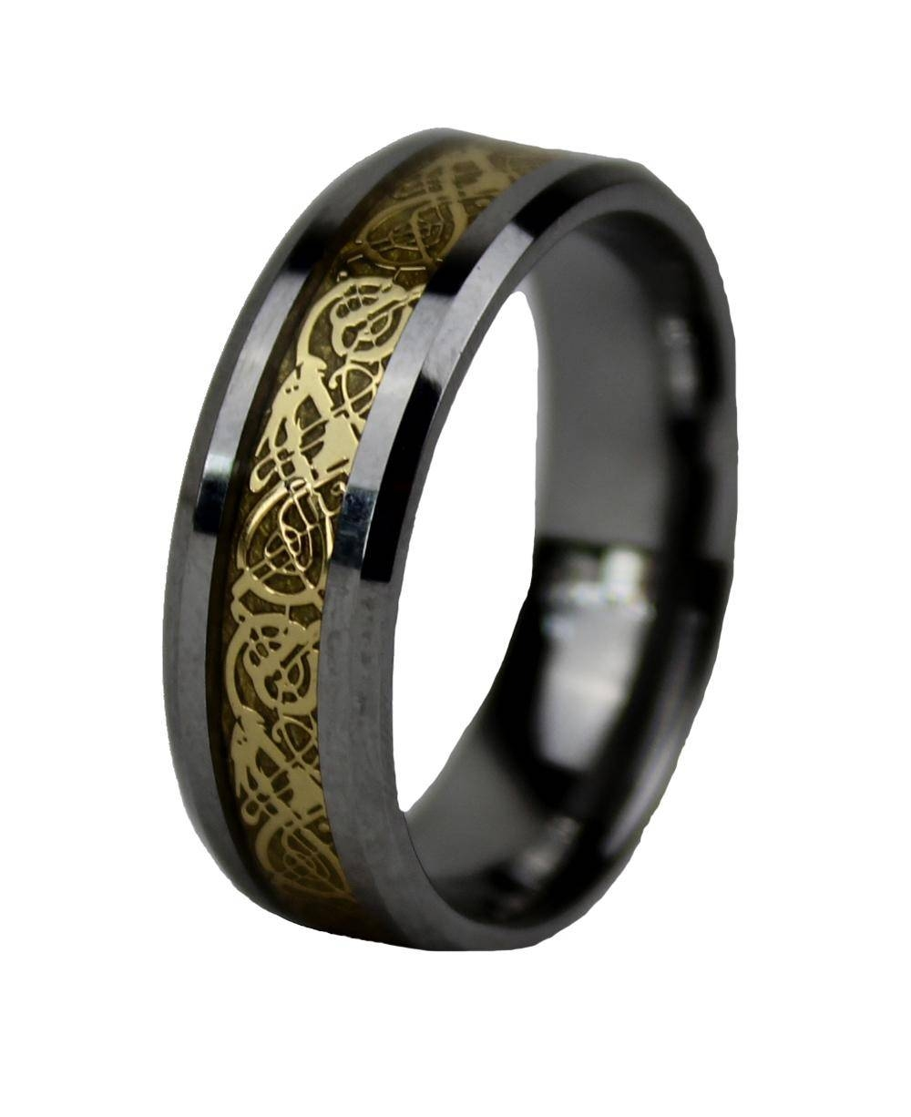 2017 Mens Celtic Wedding Ring 8Mm Tungsten Carbide Wedding Bands With Regard To Horn Inlay Titanium Wedding Bands (View 1 of 15)
