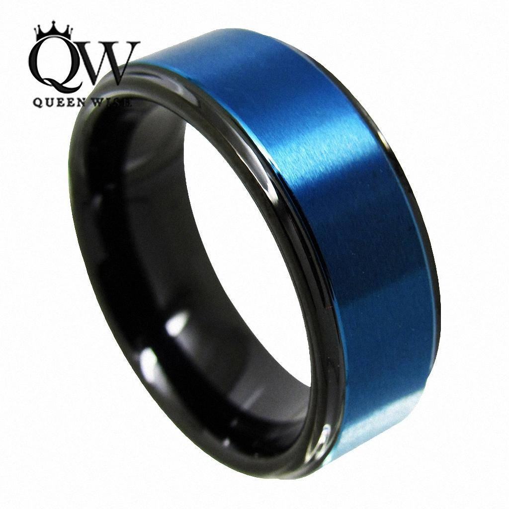2017 Queenwish Promise Ring 8Mm Black & Blue Tungsten Ring With Regard To Men's Black And Blue Wedding Bands (View 5 of 15)