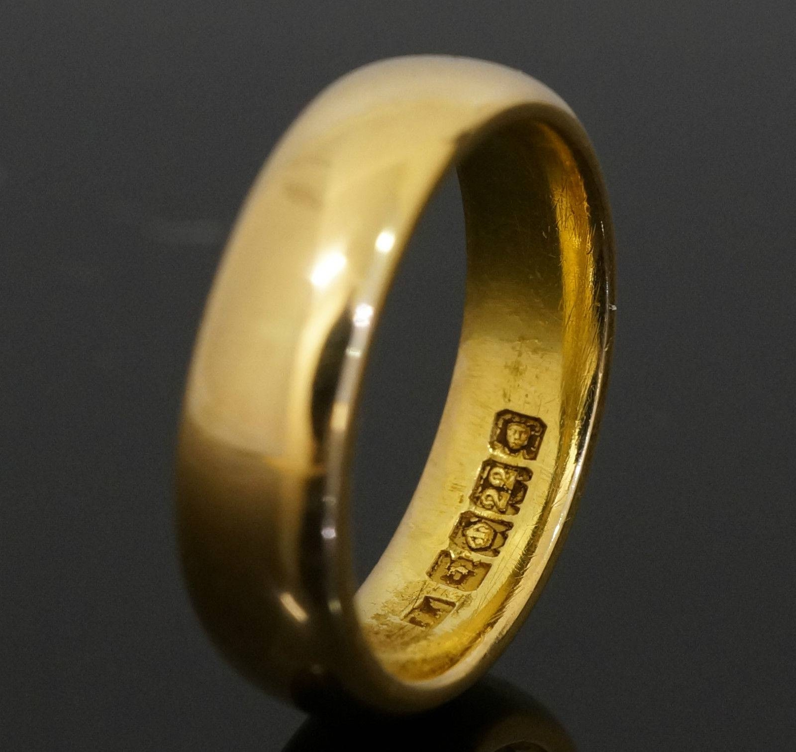 22Carat Yellow Gold Plain D Shaped Wedding Ring / Band (Size O For 22 Carat Gold Wedding Rings (View 6 of 15)
