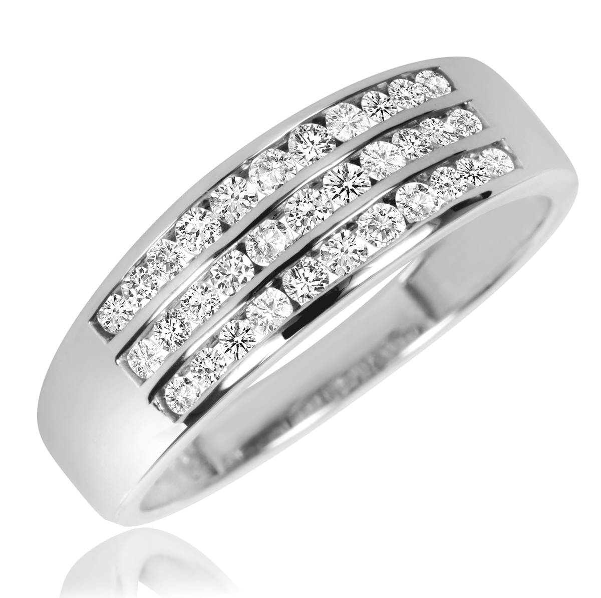 2/3 Carat T.w. Diamond Men's Wedding Band 10K White Gold Intended For Black And White Gold Men's Wedding Bands (Gallery 8 of 15)