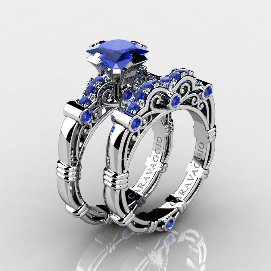 24 Blue Wedding Sets, Princess Blue Sapphire Engagement Ring Within Blue Diamond Wedding Ring Sets (View 2 of 15)