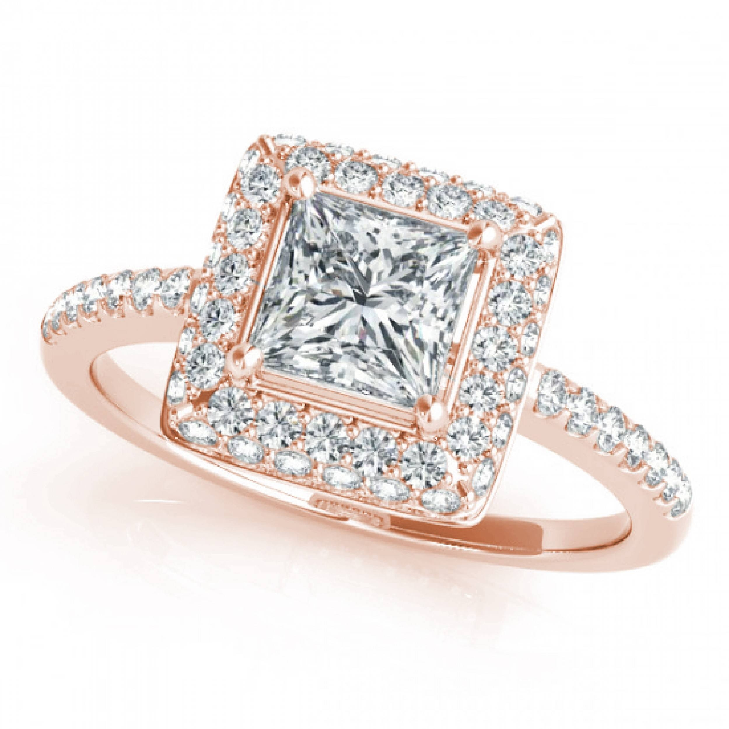 2ctw Double Princess Cut Halo Engagement Ring In 14k Rose Gold Throughout Princess Cut Diamond Engagement Rings (View 11 of 15)
