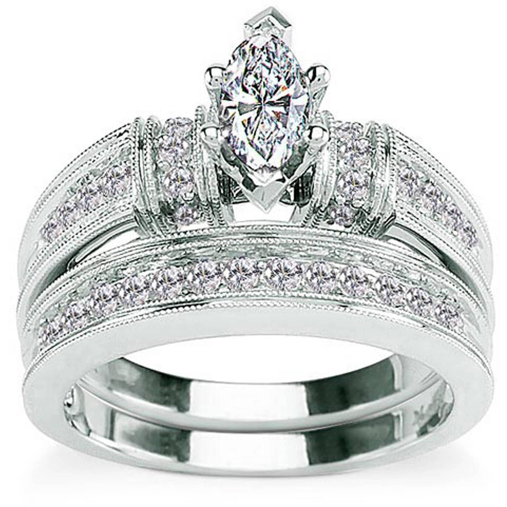 Amazing 3.3 Carat T.g.w. Cz 14Kt Gold Plated Wedding Ring Set U2013 Walmart In Walmart  Womens Wedding Design