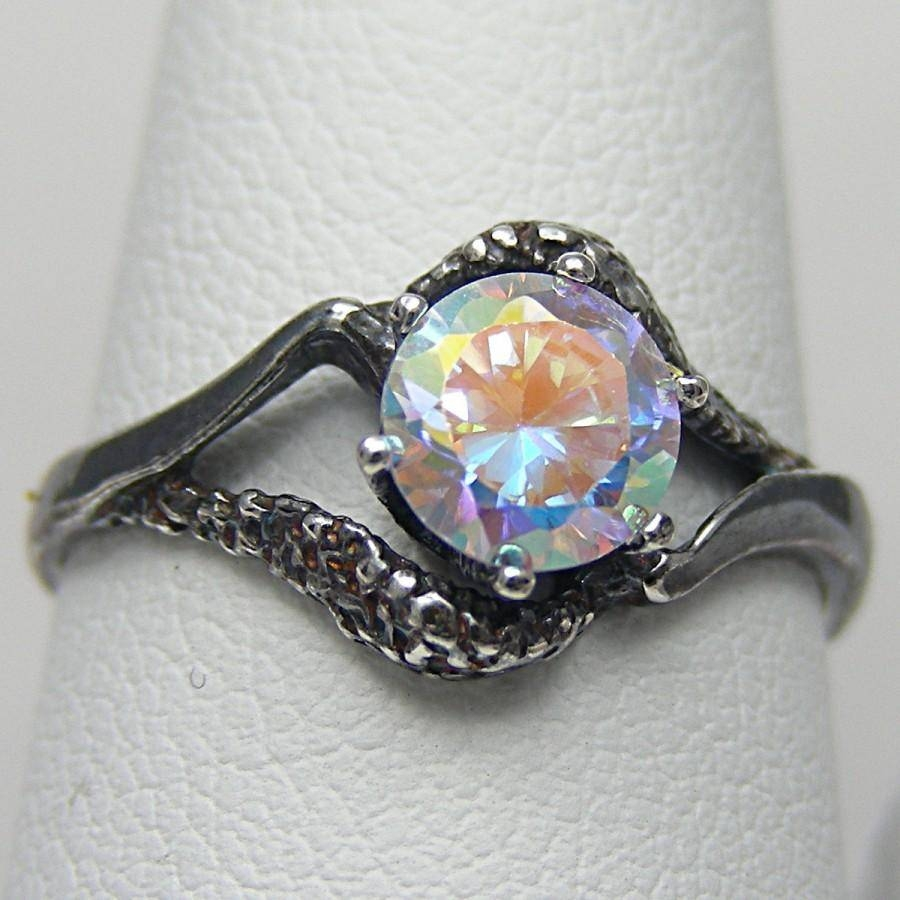 3 Day Sale Gothic Engagement Ring Celestial Sky Mystic Fire Ice Regarding Gothic Engagement Rings For Women (View 1 of 15)
