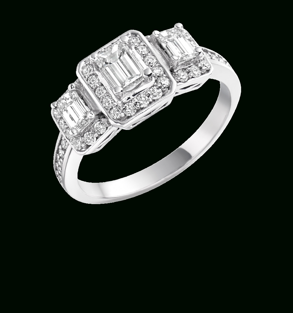 3 Emerald Cut Diamond Ring | Engagement | Northern Ireland Inside Engagement Rings Ireland (View 12 of 15)