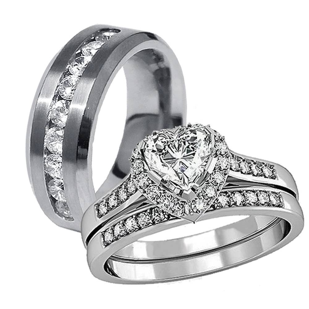 3 Pcs His Hers Stainless Steel Women's Wedding Engagement Rings Within Men's Cz Wedding Bands (View 1 of 15)