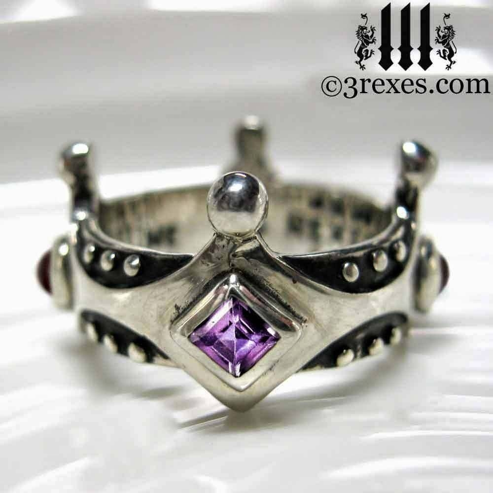 3 Rexes Jewelry: Brandy Wine Medieval Gothic Wedding Crown Ring Intended For Medieval Style Engagement Rings (View 1 of 15)