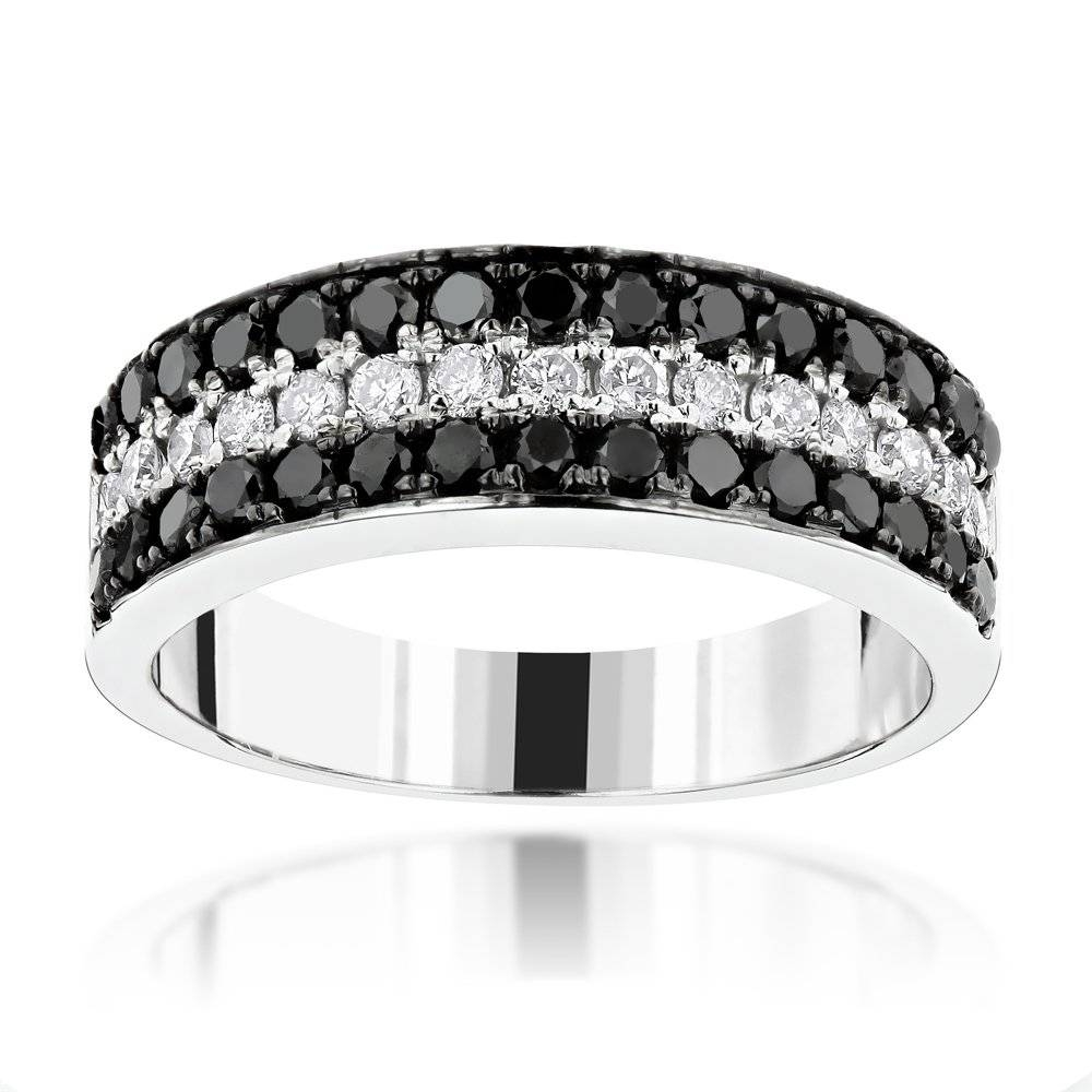 3 Row White Black Diamond Wedding Band  (View 3 of 15)