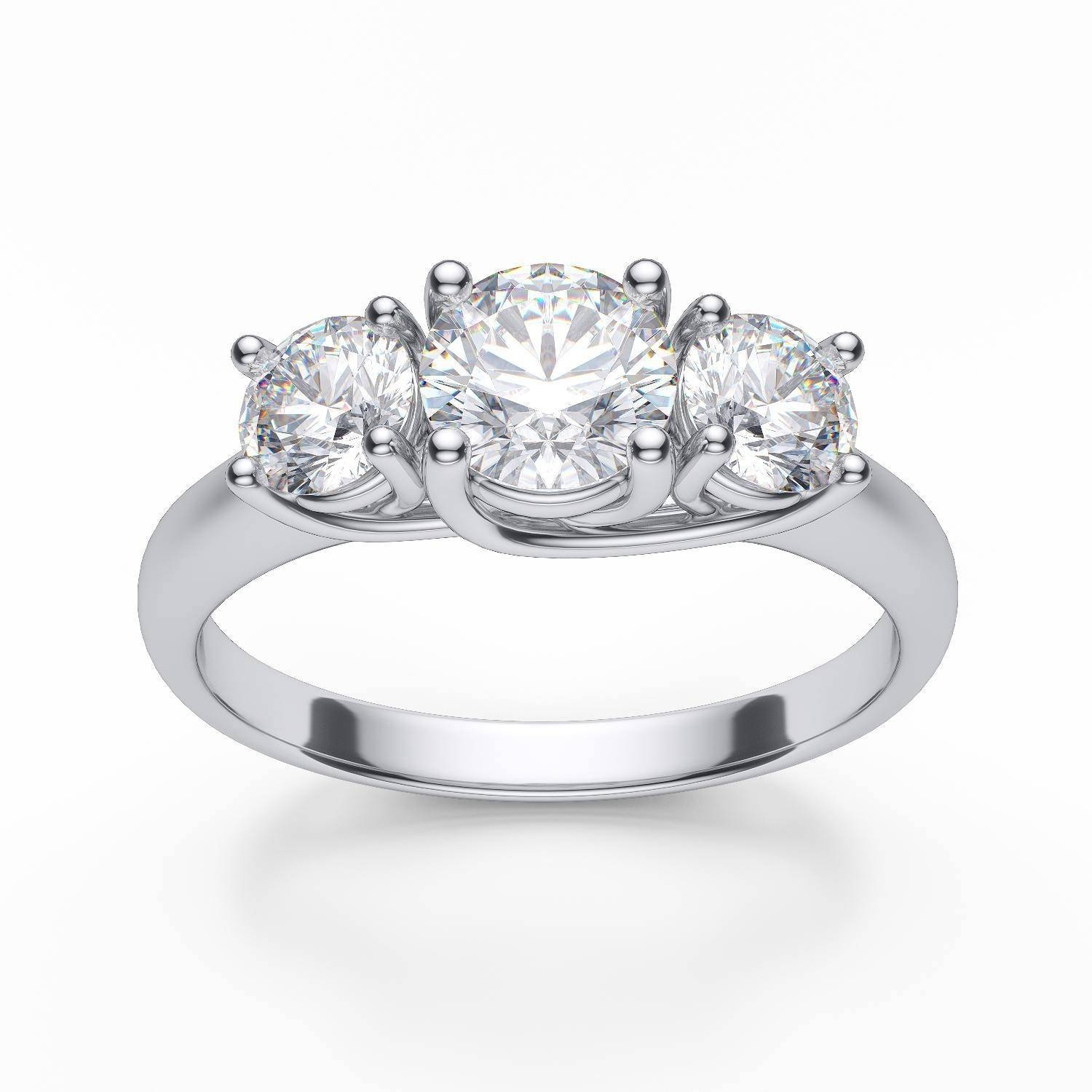 3 Stone Diamond Trellis Engagement Ring In 14K White Gold Pertaining To White Gold 3 Stone Engagement Rings (Gallery 1 of 15)