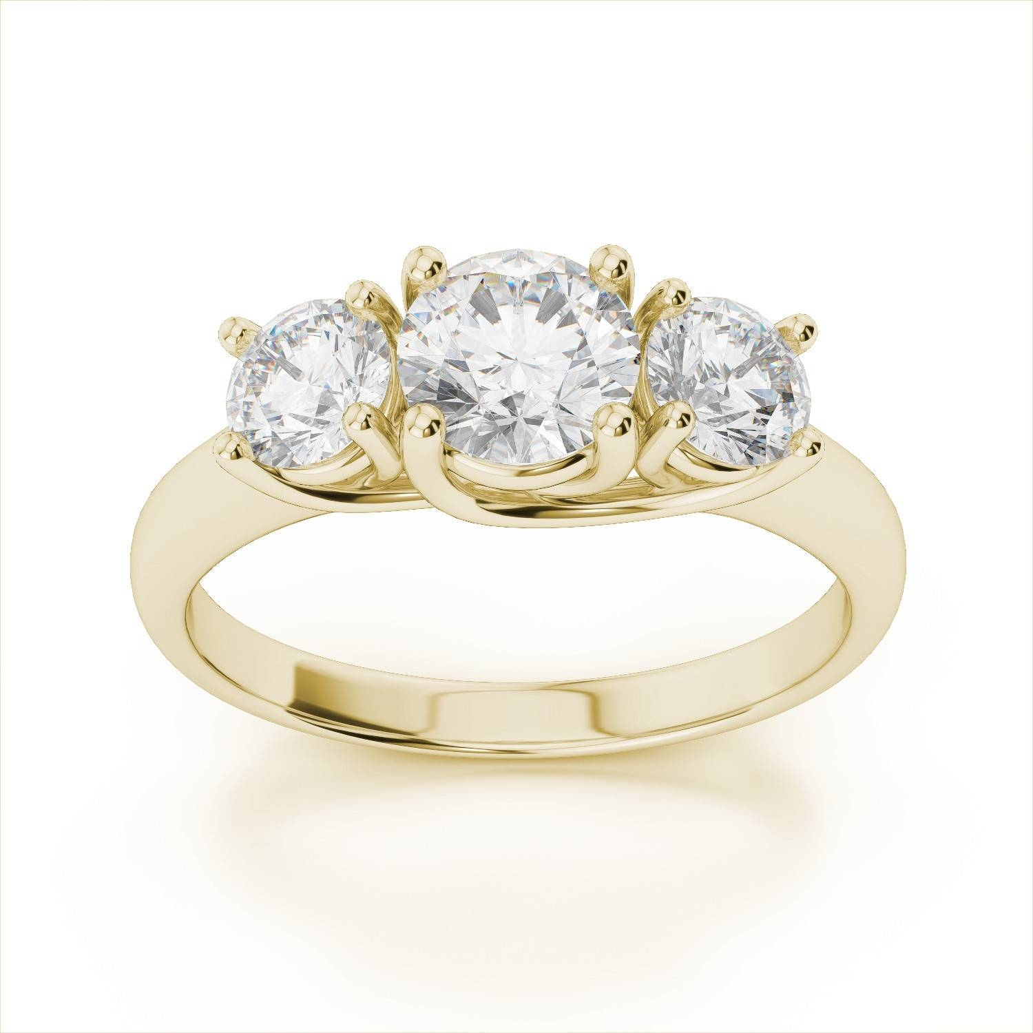 3 Stone Diamond Trellis Engagement Ring In 14K Yellow Gold Throughout Engagement Rings With Yellow Stone (View 2 of 15)