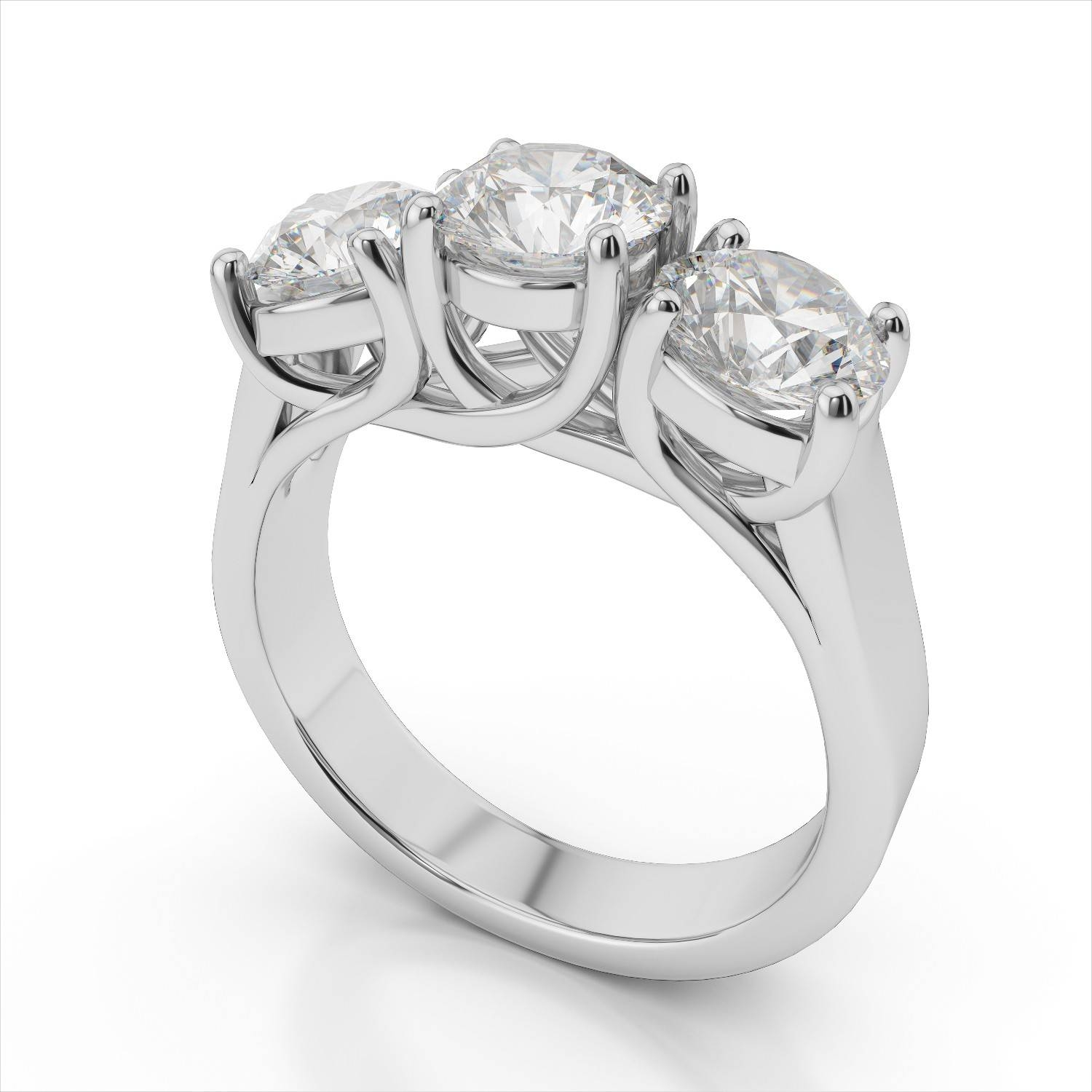 3 Stone Round Diamond Trellis Engagement Ring In 18K White Gold With Regard To White Gold 3 Stone Engagement Rings (View 6 of 15)