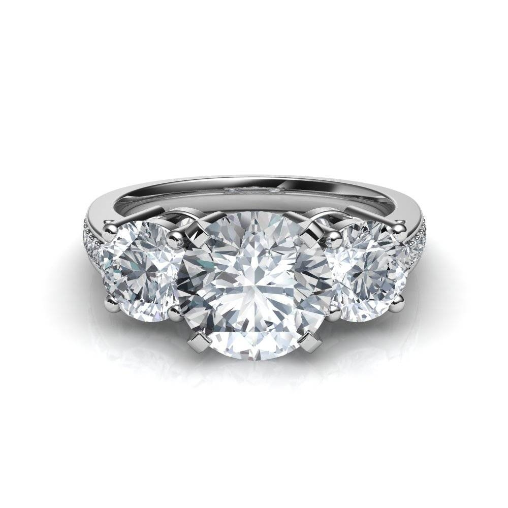 3 Stone Trilogy Past Present Future Diamond Engagement Ring Regarding Trilogy Engagement Rings (Gallery 15 of 15)