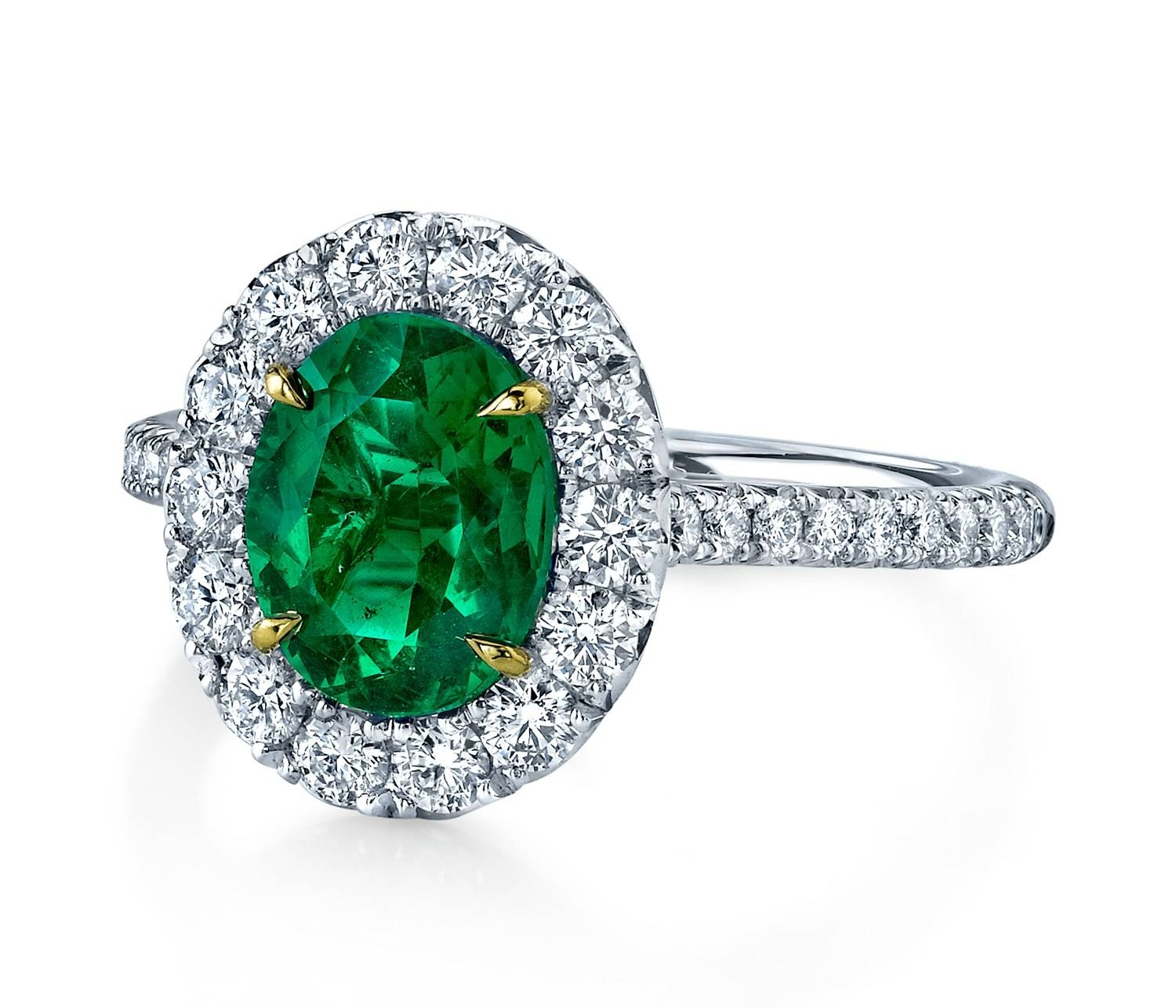 30 Diamond Engagement Rings So Sparkly You'll Need Sunglasses Regarding Engagement Rings With Emerald (Gallery 13 of 15)