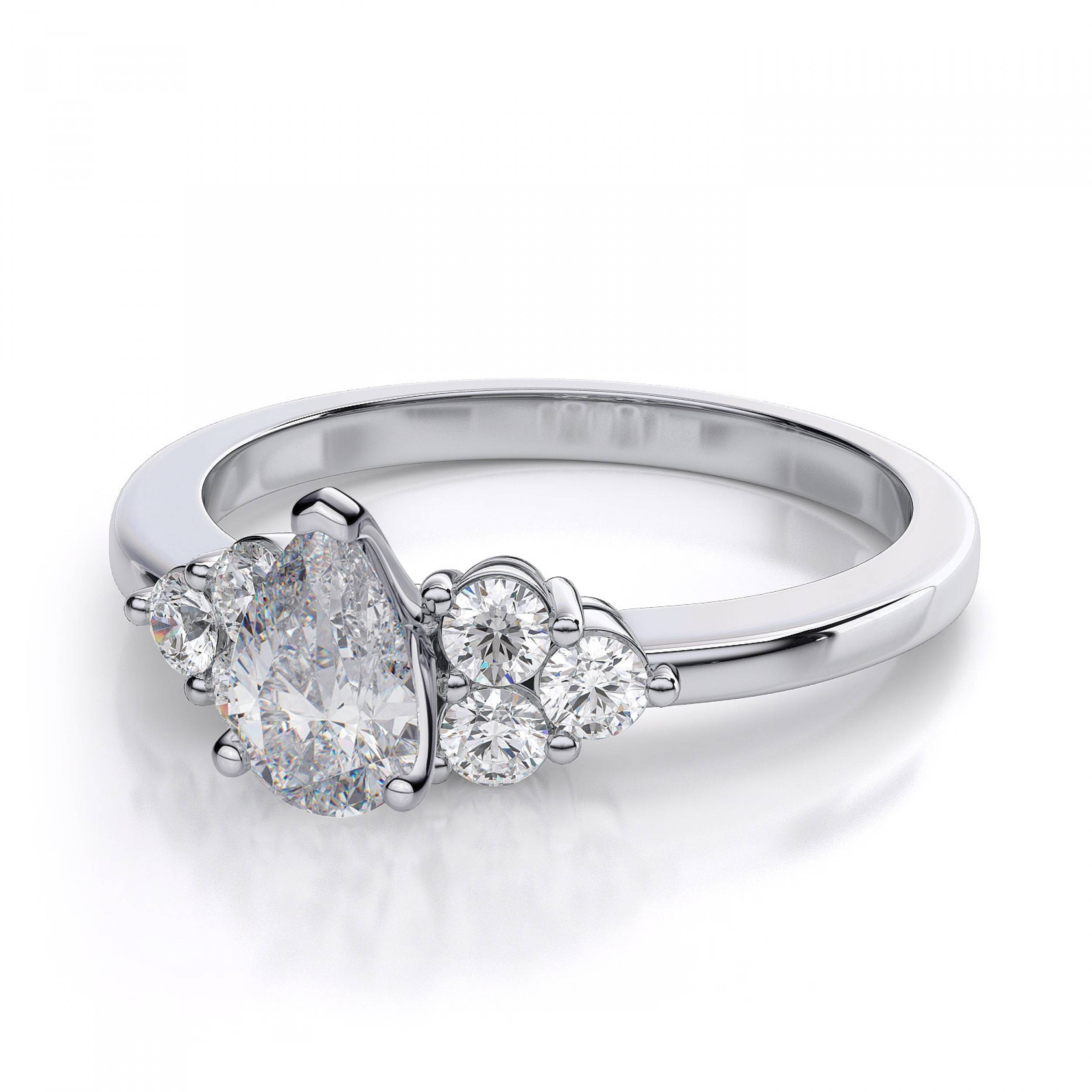 30Ctw Cluster Pear Shaped Sidestones Engagement Ring Setting In Pertaining To Pear Shaped Diamond Settings Engagement Rings (View 4 of 15)