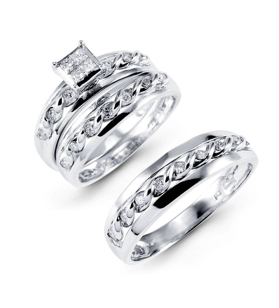 32 Bride And Groom Wedding Ring Sets For Cheap, Brilliant Gold Regarding Wedding Rings For Bride And Groom Sets (View 2 of 15)