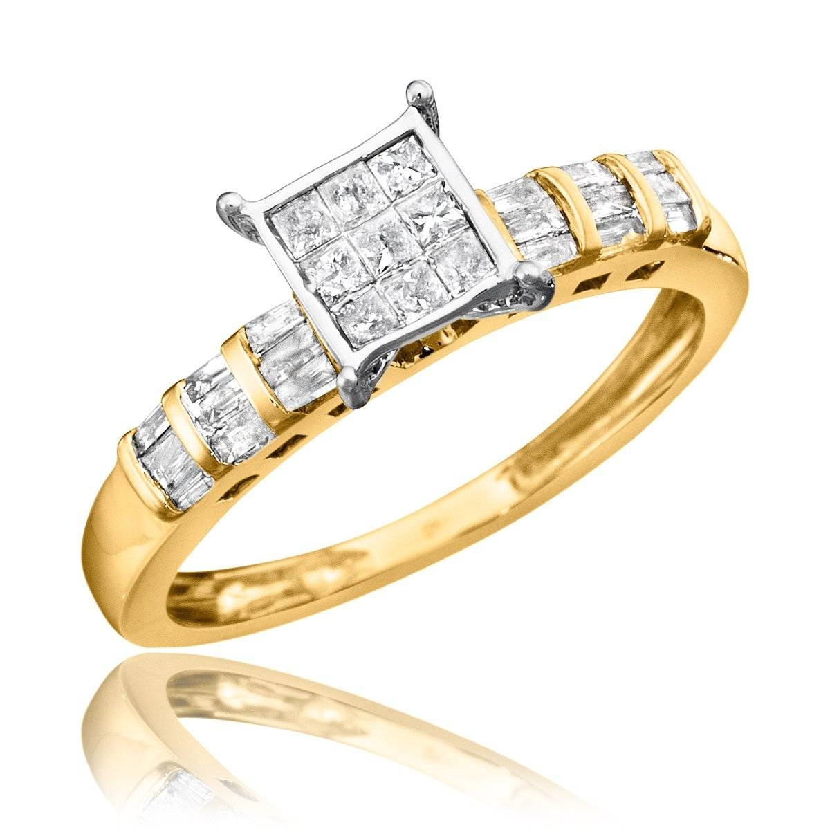 3/4 Carat Diamond Bridal Wedding Ring Set 10K Yellow Gold Inside Engagement Rings And Wedding Ring Sets (View 5 of 15)
